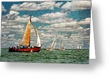 Sailboats In The Netherlands By The Zuiderzee Greeting Card