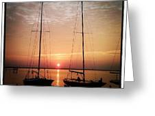 Sailboats In The Sunset Greeting Card