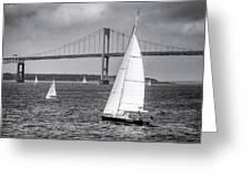 Sailboats Near Bridge Greeting Card