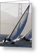 Sailboats Race On San Francisco Bay Greeting Card