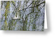 Sailing Boat Behind Tree Branches Greeting Card