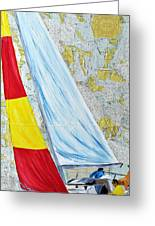 Sailing From The Charts Greeting Card