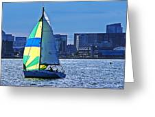 Sailing On Boston Harbor Greeting Card