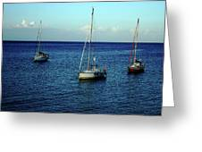 Sailing The Blue Waters Of Greece Greeting Card