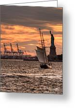 Sailing To Liberty  Greeting Card