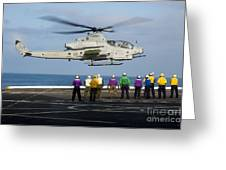Sailors And Marines Watch An Ah-1z Greeting Card