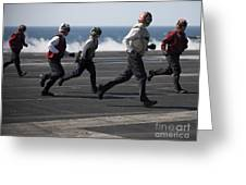 Sailors Clear The Landing Area Greeting Card