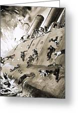 Sailors Escaping Hms Natal Which Caught Fire In Cromerty Firth In 1915 Greeting Card