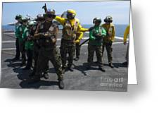 Sailors Fight A Simulated Fire Drill Greeting Card
