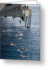 Sailors Jump To The Sea During A Swim Greeting Card
