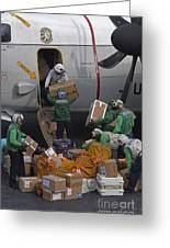 Sailors Load Mail On To A C-2a Greeting Card