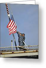 Sailors Lower The National Ensign Greeting Card