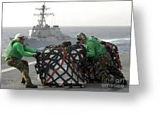 Sailors Move Supplies On The Flight Greeting Card