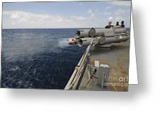 Sailors Observe A Mk-46 Recoverable Greeting Card