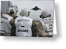 Sailors Observe An Aircraft On Board Greeting Card