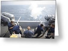 Sailors Perform A 21-gun Salute Aboard Greeting Card by Stocktrek Images