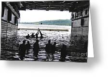 Sailors Play Football During A Swim Greeting Card