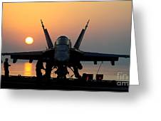 Sailors Prepare An Fa-18c Hornet Greeting Card