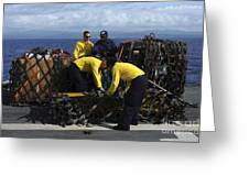 Sailors Prepare Pallets Of Cargo Aboard Greeting Card