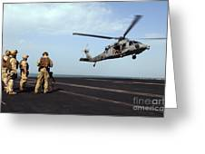 Sailors Prepare To Board An Mh-60s Sea Greeting Card