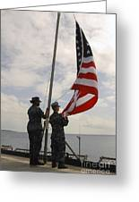 Sailors Raise The American Flag Aboard Greeting Card