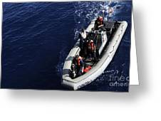 Sailors Stand Watch On A Rigid-hull Greeting Card