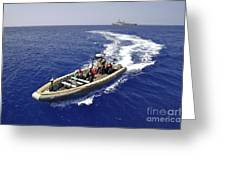Sailors Transit An Inflatable Boat Greeting Card