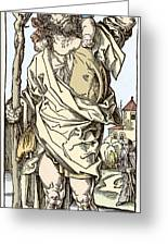 Saint Christopher Carrying Christ Child Greeting Card by Sheila Terry