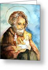 Saint Joseph And Child Greeting Card by Myrna Migala