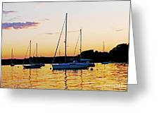 Salem Harbor Amber Sunset Greeting Card