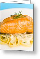 Salmon Steak On Pasta Decorated With Dill Closeup Greeting Card
