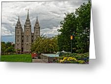 Salt Lake City Temple Grounds Greeting Card