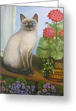 Samantha The Siamese Cat Greeting Card