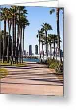 San Diego Skyline With Coronado Island Bayshore Bikeway Greeting Card