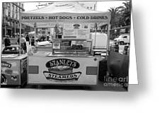 San Francisco - Stanley's Steamers Hot Dog Stand - 5d17929 - Black And White Greeting Card