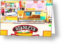 San Francisco - Stanley's Steamers Hot Dog Stand - 5d17929 - Square - Painterly Greeting Card by Wingsdomain Art and Photography