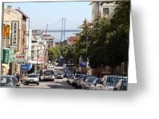 San Francisco Bay Bridge Through Chinatown Greeting Card
