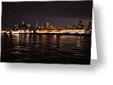 San Francisco Night View From The Ocean Greeting Card