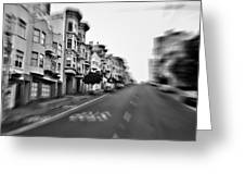 San Francisco Side Street-black And White Greeting Card