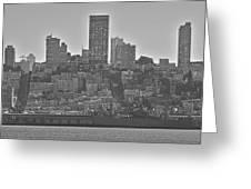 San Francisco Skyline-black And White Greeting Card