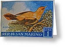 San Marino 1 Lire Stamp Greeting Card