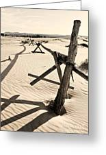 Sand And Fences Greeting Card by Heather Applegate