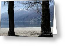 Sand Beach On An Alpine Lake Greeting Card