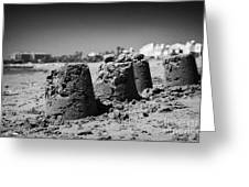 Sandcastles On Cyprus Tourist Organisation Municipal Beach In Larnaca Bay Republic Of Cyprus Europe Greeting Card