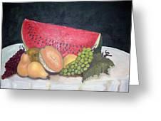 Sandia Con Frutas Greeting Card