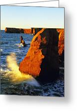 Sandstone Cliffs And Ocean Surf, La Greeting Card