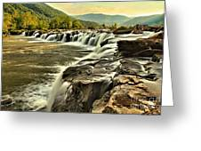Sandstone Falls At Dusk Greeting Card