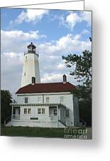 Sandy Hook Lighthouse And Building Greeting Card