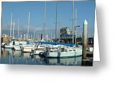 Santa Barbara Marina Greeting Card by Linda Pope