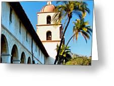 Santa Barbara Mission With Palm Trees Greeting Card
